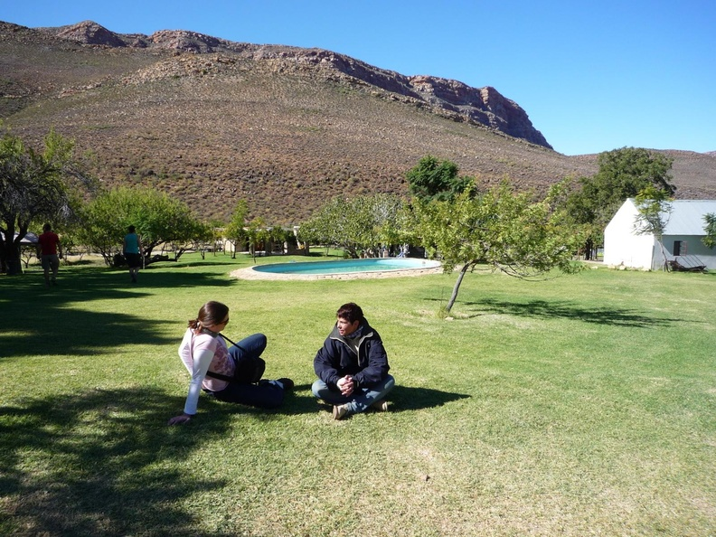 Chantel and Arina relaxing outside Cederberg Oasis