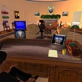 The USA Oval Office in Second Life - me about to broadcast to the nation