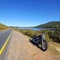 My bike next to lake on road between Grabouw and Villiersdorp
